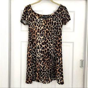 Vintage 90's Betsey Johnson leopard velour dress